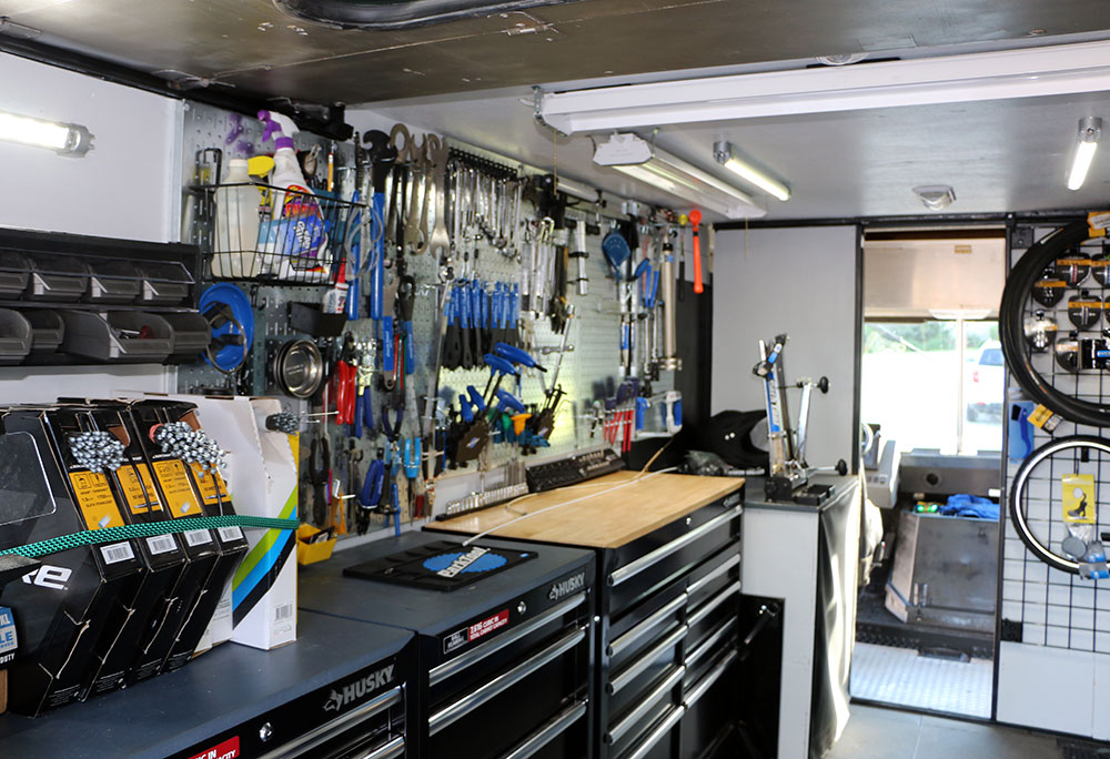 inside bike shop truck